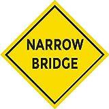 Vinyl Decal Safety Road Sign Sticker - Narrow Bridge Ahead - 5' Wide (20)