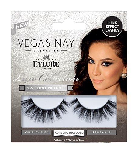 Eylure Vegas Nay Platinum Princess False Eyelashes, Reusable, Adhesive Included, 1 Pair, Cruelty Free