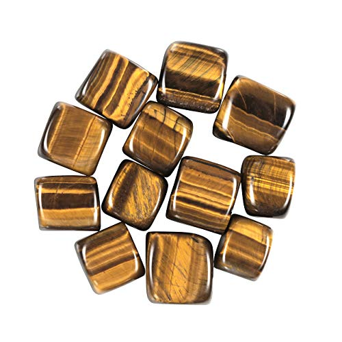Top Plaza Tumbled Polished Natural Tiger Eye Stones Healing Crystals Gemstone Quartz Bulk For Wicca, Reiki, Healing Energy - 12 Pcs