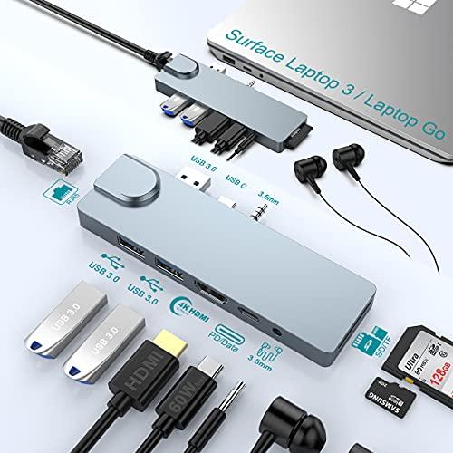 Surface Laptop 3/Laptop Go Hub Docking Station,Microsoft Surface Dock mit 4K HDMI,Gigabit Ethernet,60W USB-C PD,2 USB 3.0, SD&TF-Kartensteckplatz, 3.5 mm Audio, Docking Station für Surface Laptop 3/Go