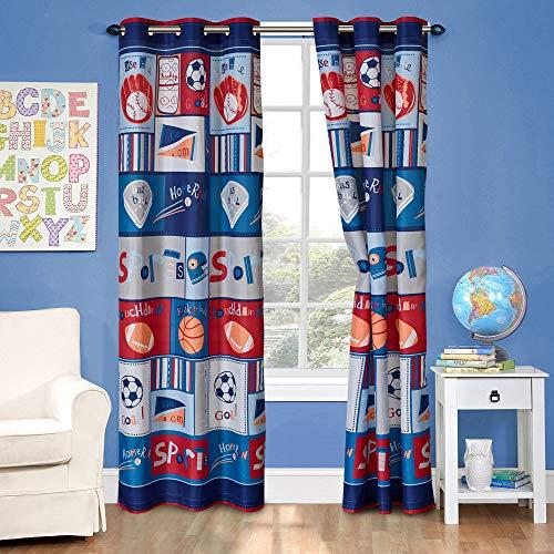Kids Zone 2 Panel Curtain Set with Grommet for Boys Girls Teens Bedroom Multicolor Set Sport Basket Ball Baseball Fottball Soccer Red Blue Grey New