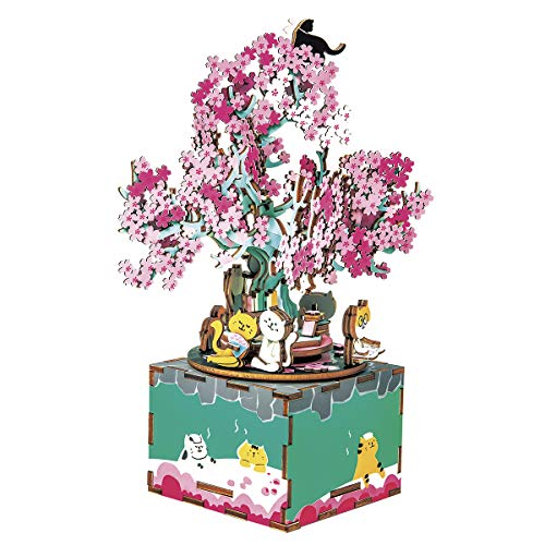 ROBOTIME 3D Puzzle DIY Music Box Puzzle Wood Model Kits to Build Rotating Cherry Blossoms Tree Craft Kits Unique Gift for Age 14+