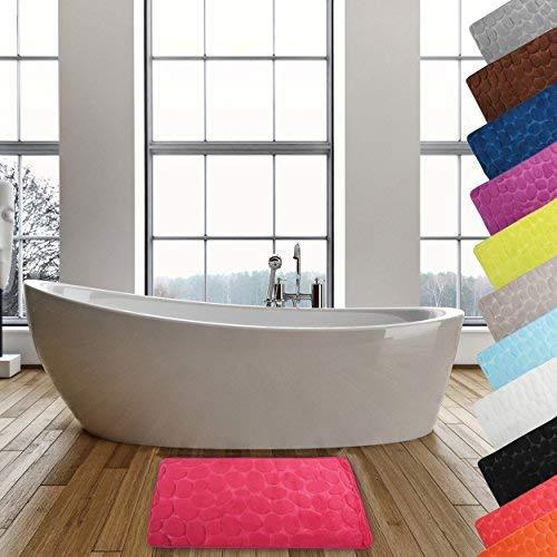 MSV Badteppich Badvorleger Duschvorleger Kieselstein Badematte waschbar, schnelltrocknend, rutschfest 50x80 cm – Pink