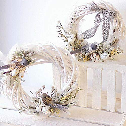 FEWIHIWEAS White Garland Wicker Design Christmas Tree Rattan Ornament Vine Ring Decoration Home Party Hanging Flower Craft-Army Green