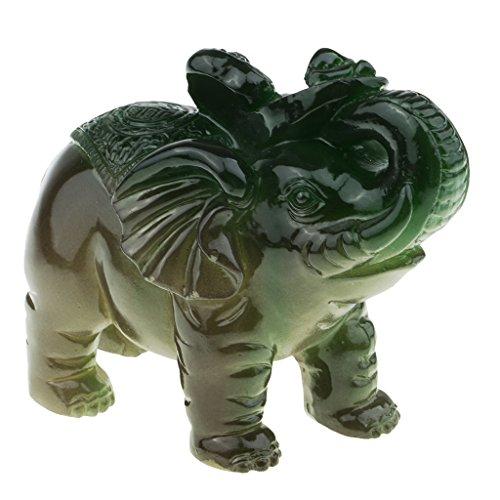 Homyl Éléphant Statuette de Résine Feng Shui Fortune Chanceux Oriental Chinois Richesse Artisanat à la Maison pour Décore et Figurine Collection - vert