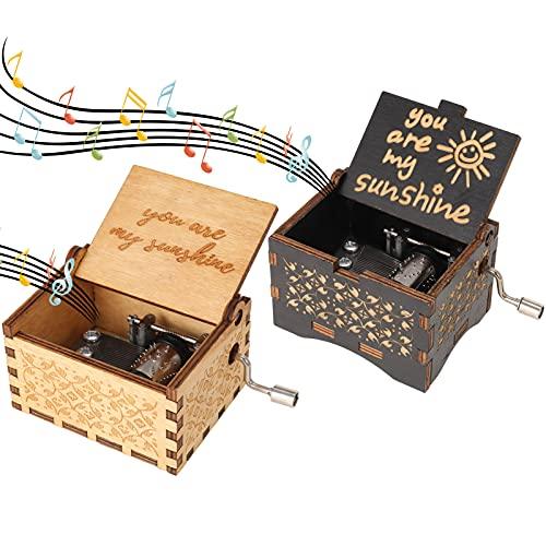 AUXSOUL 2 Cajas de Música de Madera, Cajas de Música con Manivela, Cajas de Música Talladas a Mano, Socios, Niños, Amigos y Familiares