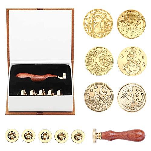 AMTOL Juego de sellos de cera, 6 sellos de cera de la serie Luna estrellada y 1 empuñadura de madera, sello de cera personalizado vintage para tarjetas de cartas invitaciones