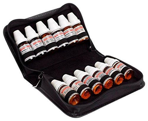 Taschenapotheke aus schwarzem Rindleder für 12 DHU Gläser, Bachblüten oder Öle
