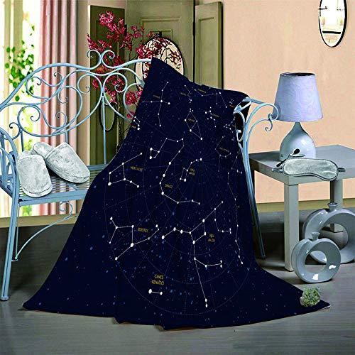 QHDIK Mantas de Franela en Microfibra, Suave Acogedora Estampado de Estrellas Mantas para Adultos y Niños Resistente a Las Arrugas No Pierde Color Mantas para Cama 150 x 200 cm