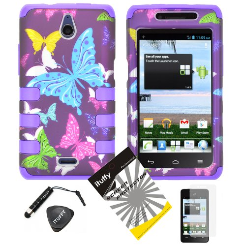 4 items Combo: ITUFFY(TM) LCD Screen Protector Film + Mini Stylus Pen + Case Opener + Purple Pink Green Yellow Blue Multi Color Butterfly Design Rubberized Hard Plastic + Soft Rubber TPU Skin Dual Layer Tough Hybrid Case for Huawei VALIANT Y301 / Straight Talk Huawei Ascend Plus H881C