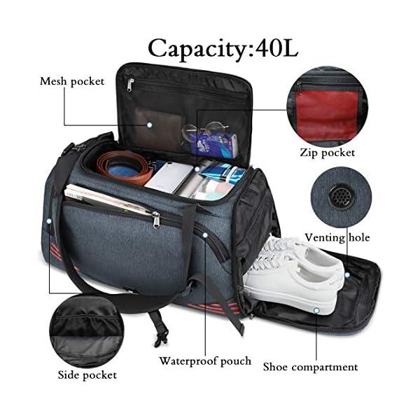 51FwtzNrhkL. SS600  - NUBILY Bolsa Deporte Hombre Bolsas Gimnasio Mujer Bolso Fin de Semana Viaje con Compartimento para Zapatos Gym Bag…