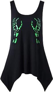 FRPE Women's Summer Sleeveless Stylish Skull Print 3D Print T-Shirt Blouse Tank Top