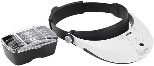 lartisanat mains libres avec 2 lumi/ères LED la r/éparation de bijoux lentille interchangeable 3X 4X 5X 6X 7X 10X 15X pour la lecture les loisirs cr/éatifs Welltop Loupe frontale avec lumi/ère LED