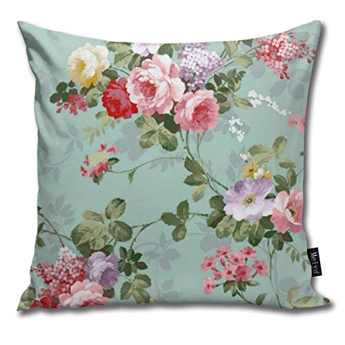 XCNGG Federa Throw Pillow Covers Vintage Elegant Pink Red Roses Pattern Throw Pillow Cases Decorative Cushion Covers Pillowcases Square Pillow Covers 18x18inch