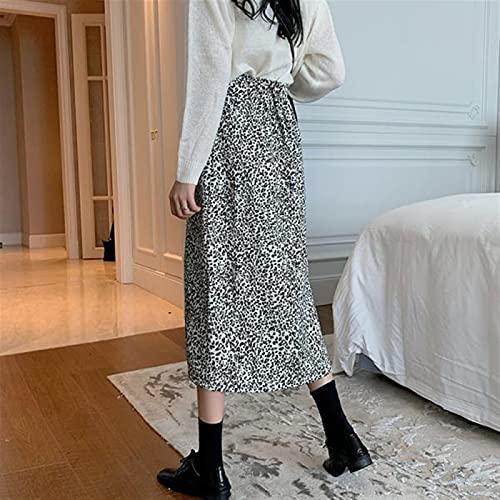 Basbsa Jupes pour Femmes Jupes Femmes Vintage Leopard Side Split All-Match Authendy Vêtements Femelle Vêtements Femme High Taille Retro College mi-Veau (Color : As Shown, Size : Medium)