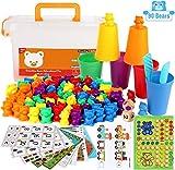 YYSDH 2020 Arco Iris Contar con los Osos Juego Copas clasificación, número de reconocimiento Color del Tallo Juguetes educativos para bebés y niños, Kit de 90 Piezas