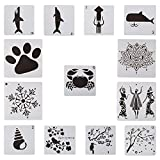GORGECRAFT 13pcs Plastic Drawing Stencil Dog Paw Print Snowflake Lotus Flower Human Flower Bird akura Tree Animal Reusable Template 6x6inch for DIY Scrapbooking Craft Projects Stamping Album Card