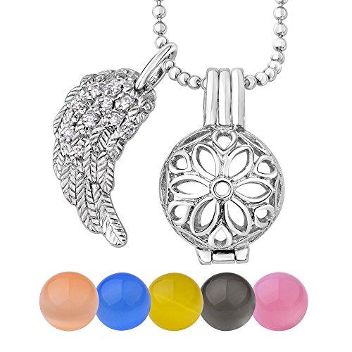 Quiges Dames 12mm verzilverd beschermengel hanger met halsketting en 5 kogels (verschillende steenkleuren)