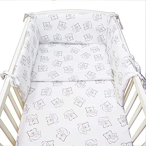 Baby Bedding, Baby Bedding Suite 5 Installed, duvets, Duvet Covers, Pillowcases, Flat Pillows, Padded Bumpers,140x70cm-Grey Teddy on White