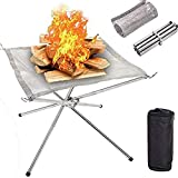 Portable Outdoor Camping Fire Pit 22 Inch Camping Stainless Steel Mesh Fireplace, Ultra Foldable Fire Pit for fire Party Patio, Camping, Barbecue, Backyard and Garden