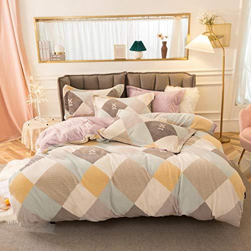 Geekcook Bed Sheet Set Queen,Four-Piece Flannel Double-Sided Fleece Thickened Plus Velvet Milk Quilt Cover Winter Coral Fleece Bedding Golden Velvet-Orchid_1.8m