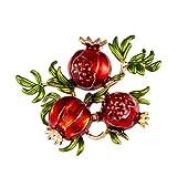 Fenical Obst Brosche Nette DREI Granatapfel Form Blatt Brosche Cartoon Corsage Abzeichen für Rucksack Jacke Decor Schmuck Geschenk (Rot)