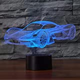 3D Illusion Lampe Auto LED Nachtlicht, USB-Stromversorgung 7 Farben Blinken Berührungsschalter Schlafzimmer Schreibtischlampe für Kinder Weihnachts geschenk