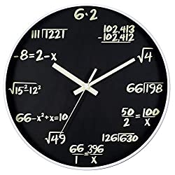JoFomp Math Wall Clock, Glow in The Dark Silent Non-Ticking Wall Clocks, Night Light Battery Operated Decorative Wall Clock for Living Room, Classroom | Each Hour Marked by a Math Equation (Math)