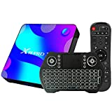 Android 10.0 TV Box 4GB RAM 32GB ROM Set Top Box Smart TV Box RK3318 USB 3.0 1080P Ultra HD 4K HDR WiFi 2.4GHz 5.8GHz BT 4.1 TV Box Android con Mini Tastiera Senza Fili Retro Illuminata