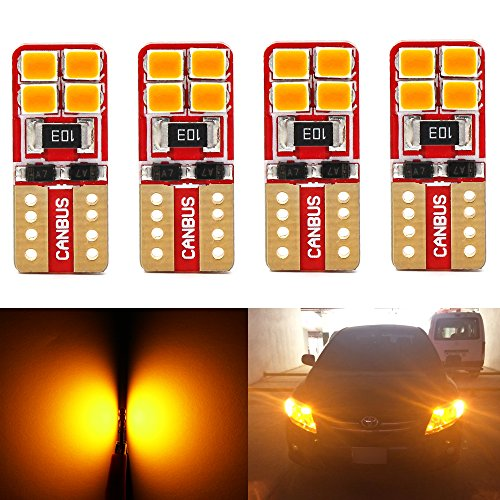 Phinlion Super Bright 2835 8-SMD LED Bulbs for Car Interior Dome Map Door Courtesy License Plate Lights Wedge T10 168 194 2825 Amber Yellow (Pack of 4)