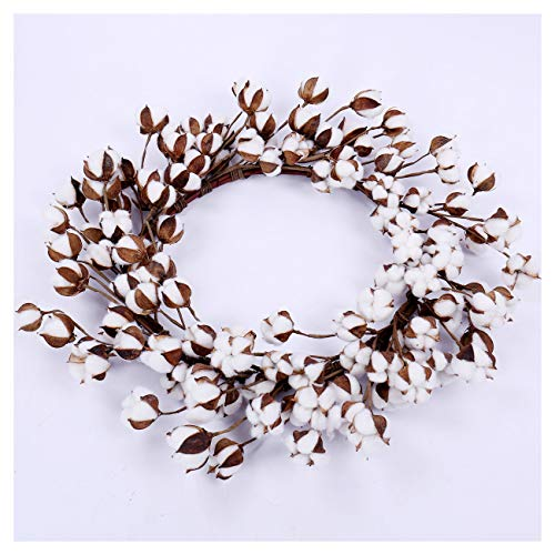 """Cotton Wreath - 26"""" Farmhouse Natural White Round Cotton Boll Wreath Stem Branches for Front Door Welcome Decor for Hallway and Entryway"""
