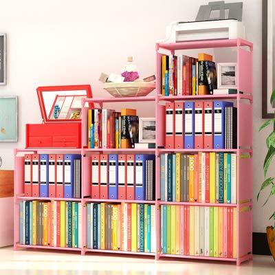 Binxin Bookshelf 4 Tier Shelf 9-Cube Cabinet Bookcase Mueble para Libros, Pink