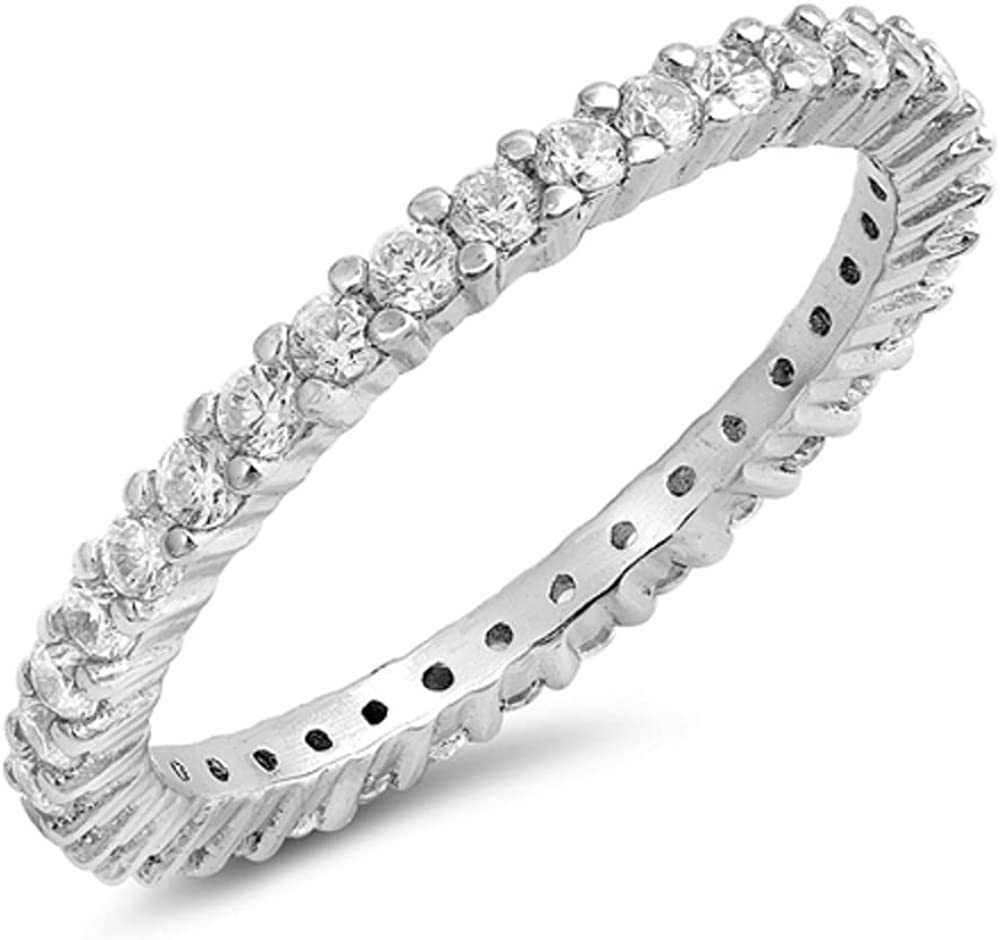 CloseoutWarehouse Cubic Zirconia Stackable Ring Eternity Chicago Mall Sterlin Weekly update