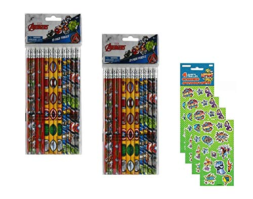Marvel Avengers Pencils and Sticker Sheets - 24 Pencils and 4 Sticker Sheets