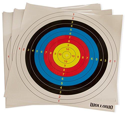 Wollowo - Zielscheibenauflagen für Bogen- und Armbrustschießen - Papier - 42 x 42 cm - 20 Stück