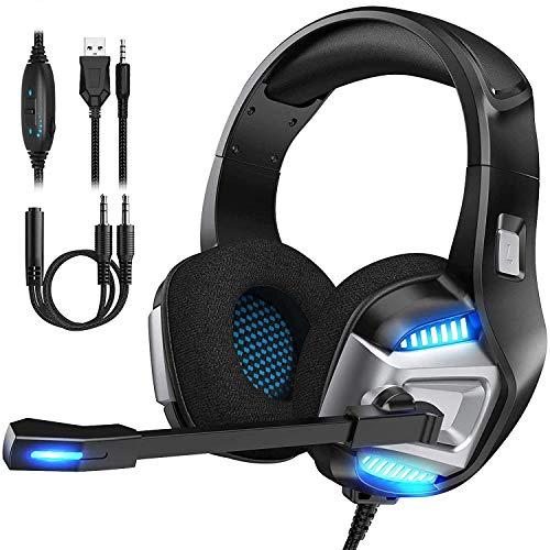 Mksutary Cascos Gaming, Auriculares Gaming para PS4, PC, Xbox One, Playstation - Psone, Cascos Ruido Reducción de Diademas Cerrados Profesional con Micrófono Limpio Sonido 3.5mm