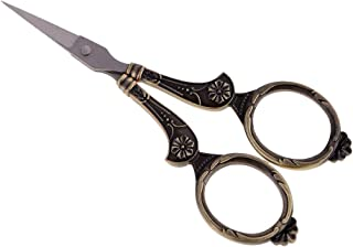 """Dolity 4.3"""" Vintage European Style Sewing Scissors Floral Pattern Embroidery Scissors - Bronze"""