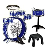 12 Piece Kids Jazz Drum Set – 6 Drums, Cymbal, Chair, Kick Pedal, 2...