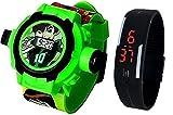 Pappi-Haunt - Calidad ASEGURADA - Paquete de 2 Benton Reloj de Banda para proyector + Reloj de Banda led Digital para Jalea Delgado Negro para niños, niños