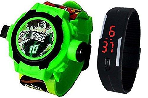 Pappi-Haunt - qualità Assicurata - Giocattoli Speciali per Bambini - Confezione da 2 Benton Cinturino per proiettore + Jelly Slim Nero Digital Band Watch per Bambini, Bambini