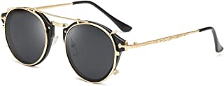 Clip On Sunglasses Steampunk Style and Round Mirrored Lens