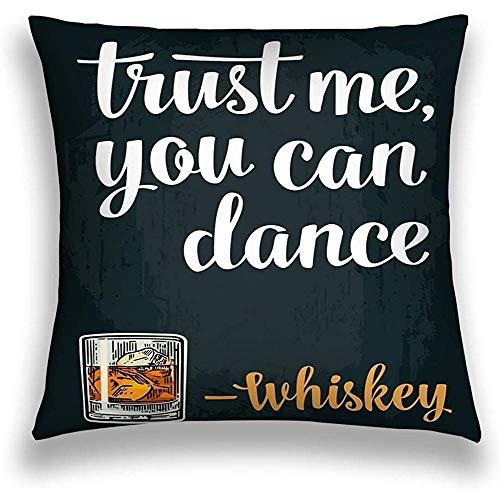 Bloemen Kussen Kussensloop, Moderne Illustratie, Mannelijke Hand Holding Glas Whiskey Vintage Graveren Web Poster om Party Vertrouw me U kunt Dans 45X45cm