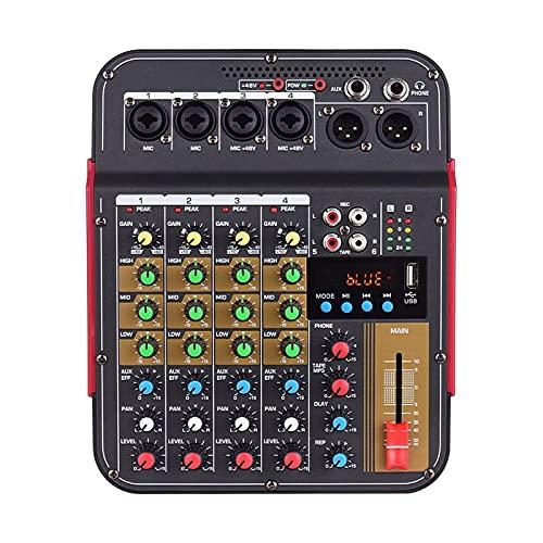 Feixunfan Mesa de Mezclas Consola de Mezcla de 4 Canales Energía Fantasma incorporada de 48V con función BT Sistema de Audio Profesional para Streamers Podcasters (Color : Black, Size : One Size)