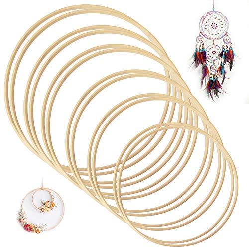 Koytoy Traumfänger Ringe 12 Stück 6 Größen Holz Bambus Floral Hoop für DIY Kranz Decor Hochzeitskranz Dekor und Wandbehang Handwerk (12 PCS)