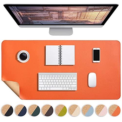 yywl Alfombrilla de Escritorio Laptop Antideslizante Mouse Pad Mousepad Grande Mousepad Oficina Escritorio de computadora Estera Gaming Impermeable PU Cuero Doble Teclado Teclado (Color : Orange)