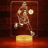 Kobe y Baloncesto Modelo 3D LED noche luz creativa 16 colores lámpara táctil remoto lámpara de mesa niño bebé dormitorio sueño ilusión escritorio cumpleaños vacaciones tienda regalo juguete