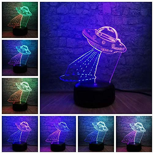Illusion 3D LED tafellamp tafellamp voor studio's nachtlamp 3D lamp UFO ruimteschip astronave kleur gemengd LED tafellamp meerkleurig nachtlampje USB opladen decoratie voor slaapkamer tiener kerstgeschenk met afstandsbediening