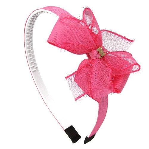 Serre-tête pour cheveux de fille 1 cm Ruban et double nœud en tissu et tulle Référence 107-609 fuchsia