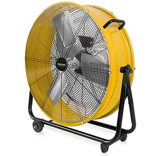 VENTISOL 24 Inch High Velocity Barrel Fan for Workshop Basement Greenhouse AllMetal Construction 360° Tilting HeavyDuty Drum Fan 3Speed 2 HandlesampCastors