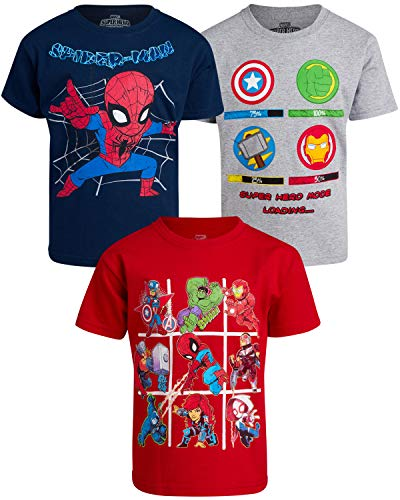 Marvel Boys' T-Shirts with Favorite Avengers Superhero Designs (3 Pack), Medium Blue/Heather Grey/Red, Size 2T
